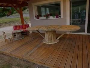 Table en touret et banquette en palette Notre terrasse bois mobilier palette et touret
