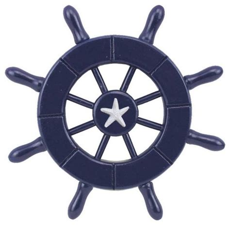 Boat Driving Wheel blue decorative ship wheel with starfish 6 boat