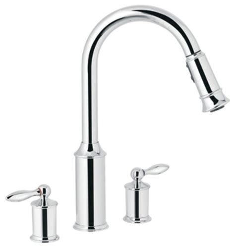 2 handle kitchen faucet in chrome moen 7592c aberdeen two handle high arc pullout kitchen