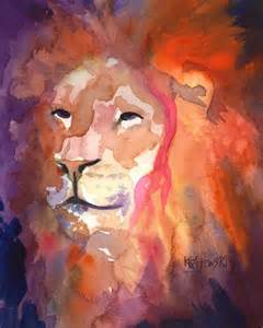 Watercolor Lion Painting