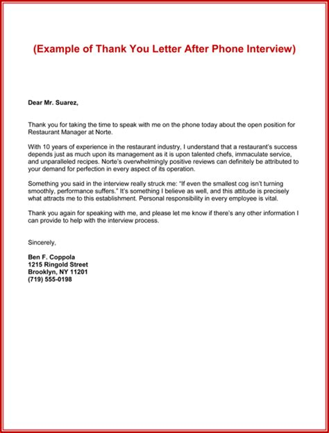 Thank You Note After Phone Interview 50 Best Templates