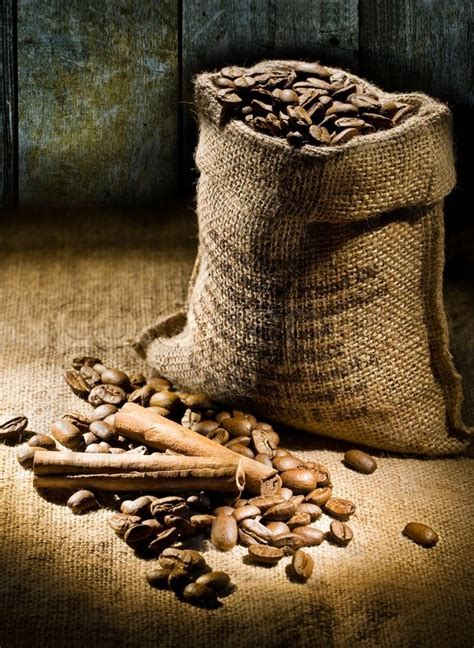 sack  coffee beans   background   boards stock