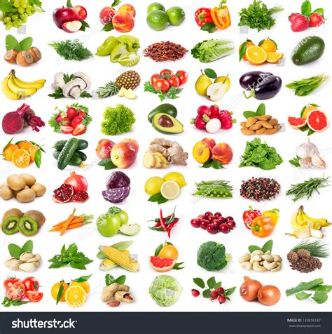 Cuisine Aaz Collection Fresh Fruits Vegetables Isolated On Stock Photo