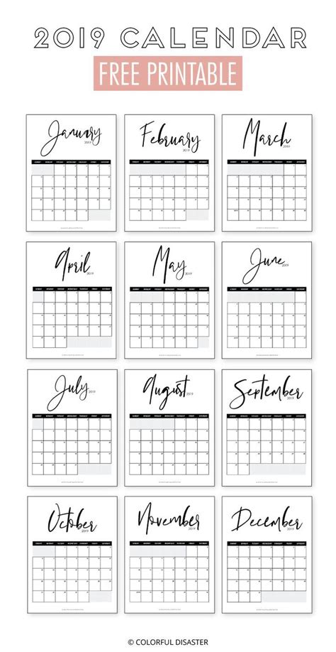 monthly printable calendar paper craft monthly calender
