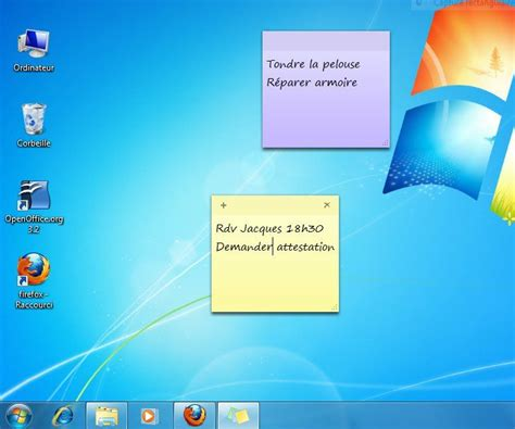 note sur le bureau afficher des post it sur un ordinateur windows 7 lecoindunet