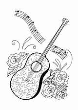 Coloring Adult Music Pages Adults Guitar Sheets Printable Colouring Themed Favecrafts Books Guitars Print Da Notes General sketch template