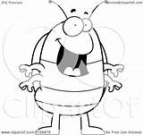 Pillbug Happy Coloring Cartoon Standing Clipart Vector Outlined Thoman Cory Royalty sketch template