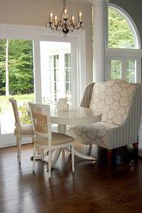 Wingback settee french dining room windsor smith home for Settee for dining room table