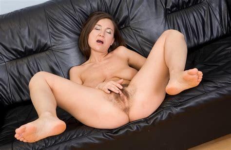 Russian Hairy Mom Svetlana Pussy Fingered On Black Sofa