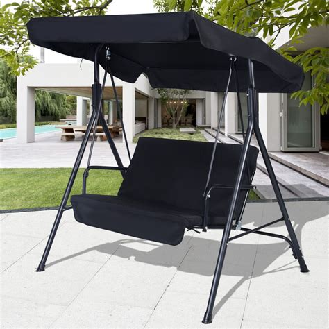 Patio Swing by Black Outdoor Patio Swing Canopy Awning Yard Furniture