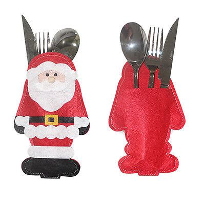 santa claus christmas cutlery holder bags fork spoon
