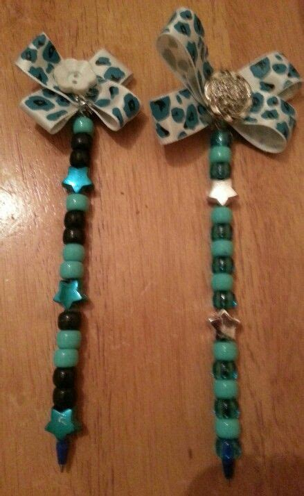 writing pens decorated  pony beads flower pens
