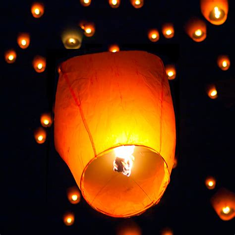 50 white paper lanterns sky fly candle l for wish wedding ebay