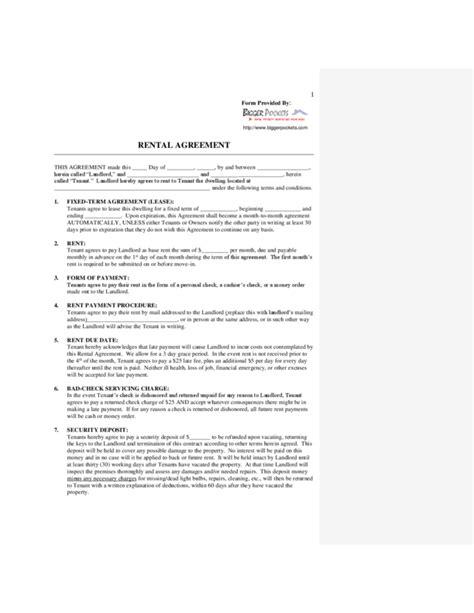 simple rental agreement form legalformsorg