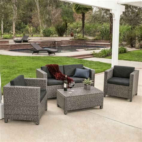 Outdoor Patio Seating by Outdoor Patio Furniture Grey Pe Wicker 4pcs Luxury Sofa