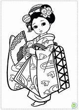 Coloring Japanese Pages Japan Kimono Geisha Asian Drawing Dolls Dinokids Sheets Adult Kokeshi Fan Printable Books Dragon Colouring Sushi Doll sketch template