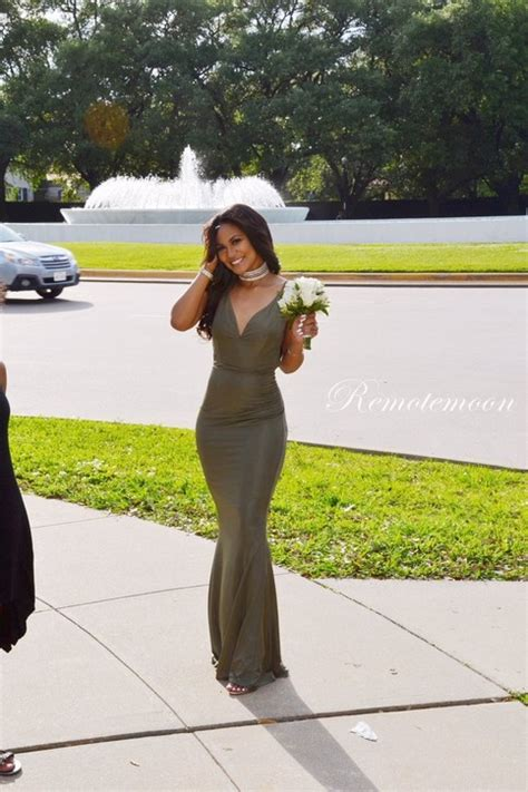 olive green  neck mermaid african evening prom