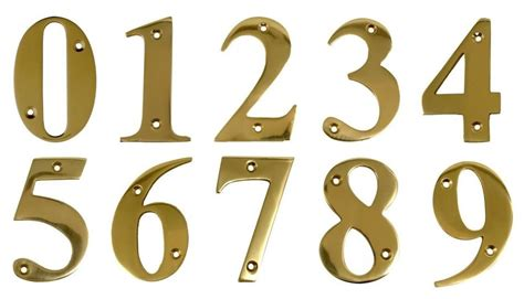 Door Numbers Brass Door Numerals In Polished Brass 1, 2, 3