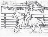 Coloring Horse Rodeo Riding Horses Cowgirls Flag Cowgirl Printable Printables Drawing Horseback Cowboys Barrel Racing Cowboy Western Sheets Pony Bull sketch template
