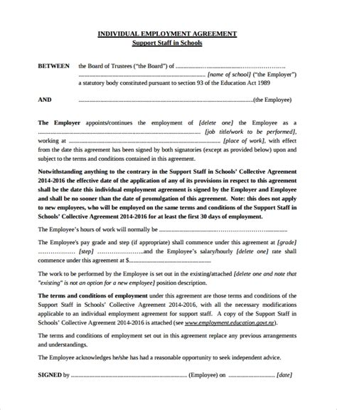 sample individual employment agreement templates