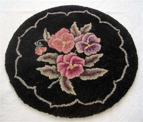 vintage hand hooked wool chair pad striking black with