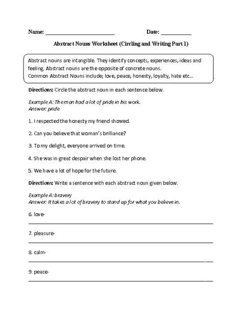 circling and writing abstract nouns worksheet part 1