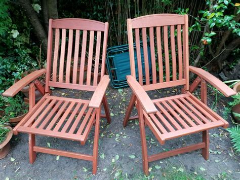 solid teak reclining garden chairs  leith links