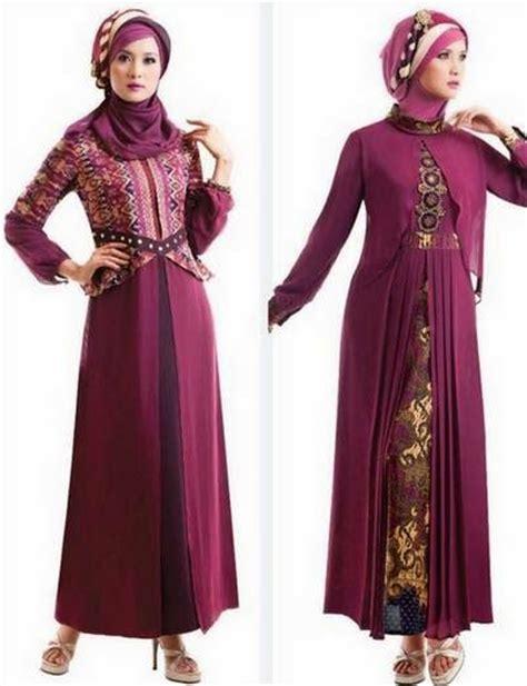 contoh desain baju muslim gamis brokat terbaru
