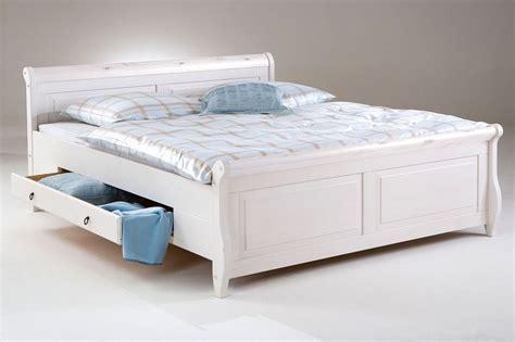 Bett Mit Schubladen 160x200 Weiß Holzbett Kiefer Massiv Poarta