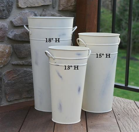 washed white french flower bucket  tall metal florist containers