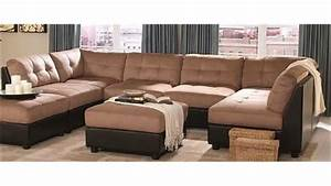 Sectional sofa with button tufted design brown microfiber for Sectional sofa with button tufted design brown microfiber