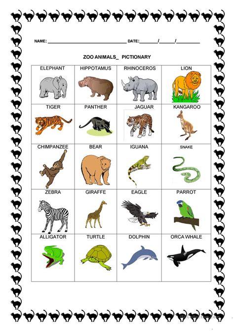 zoo animals pictionary worksheet  esl printable