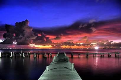 Langit Pemandangan Matahari Terbenam Dermaga Pantai Kayu