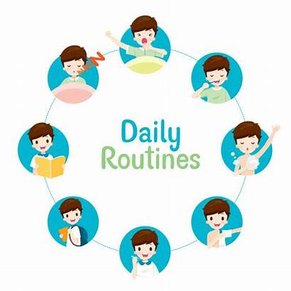 Daily Clip Routines Activities Boy Circle Vector