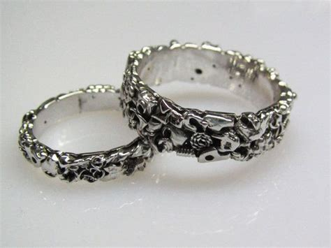 junk wedding band set made from recycled silver metal