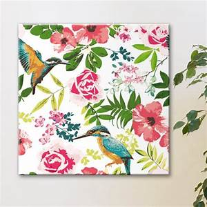 tableau colibris fleurs tropicales With chambre bébé design avec bouquet fleurs tropicales