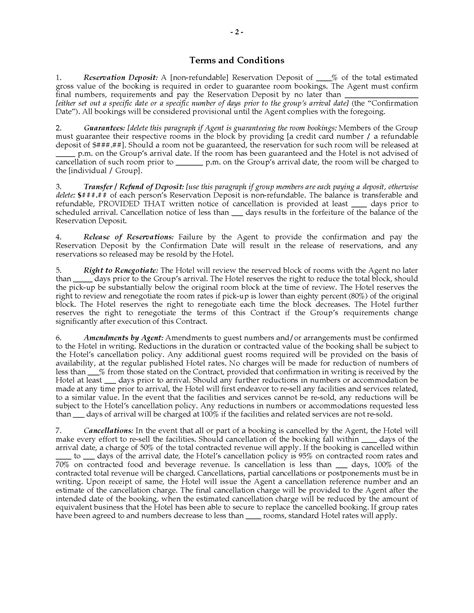 hotel group accommodation contract legal forms