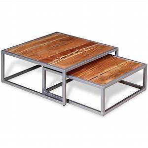 vidaxl two piece coffee table set solid acacia wood With two piece coffee table