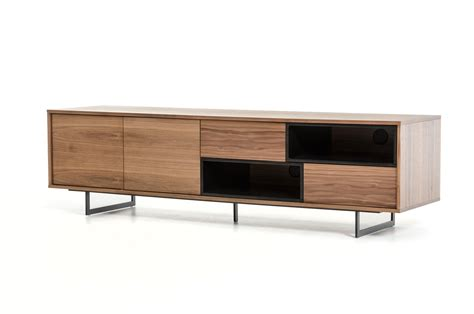 designer console tables contemporary walnut tv stand media storage with drawers and doors san