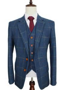 custom wedding suits wool blue ckeck tweed custom made suit blazers retro tailor made slim fit wedding suits for