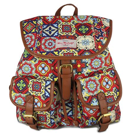 red  aztec print rucksack backpack school college bags
