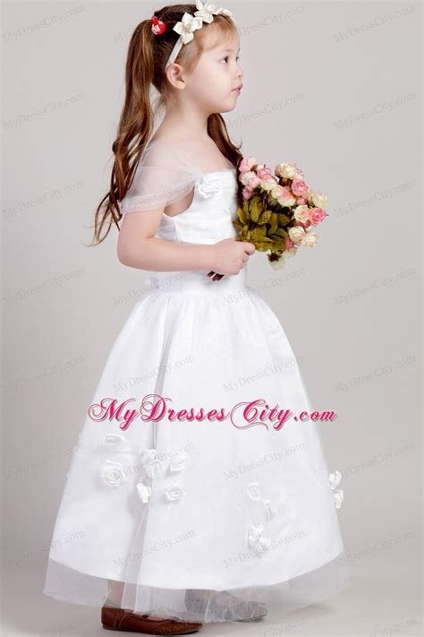 straps  flowers accented flower girl dress   ankle