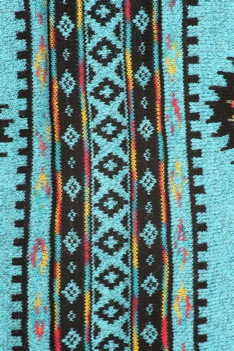 435 Western Print Cardigan Turquoise Cardigans