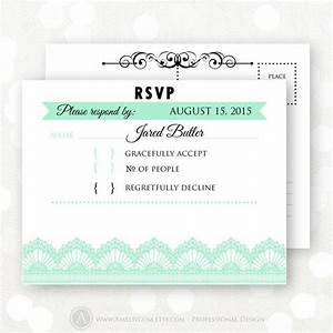 Printable rsvp card mint white lace wedding reply card for Printable rsvp cards