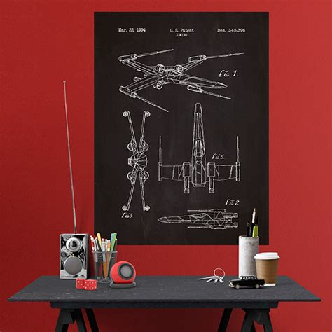 Wand Poster Selbstklebend by Poster Selbstklebendes X Wing Patent Schiefer
