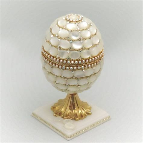 natural of pearl covered wedding ring box faberge style decorated egg wedding ring box