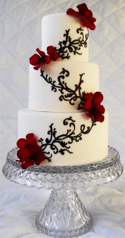 Black And White And Red Wedding Cakes Blackandwhite