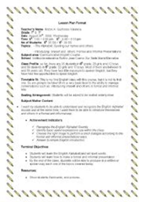 english worksheets lesson plan the alphabet and formal