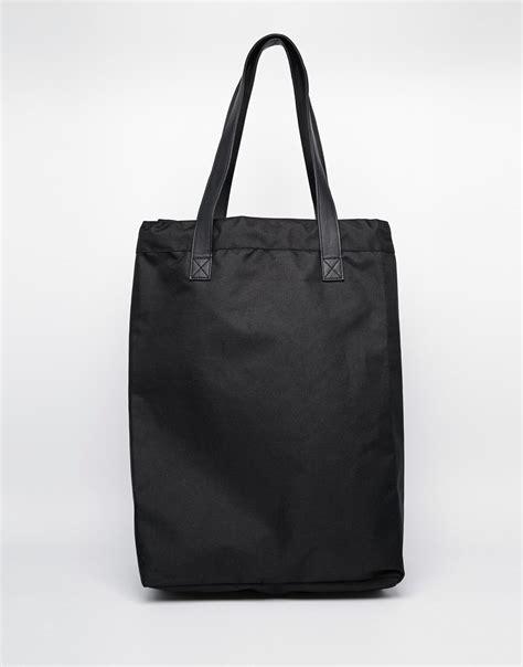 lyst monki cotton canvas large shoulder bag  black
