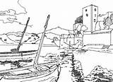 Coloring Port Seaside Colouring Printable Drawings Ships Boats Country Paris sketch template